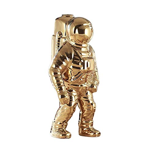 Gazechimp Estatuilla de Cerámica Escultura de Astronauta Linda de Astronauta Decoración para Regalos para El Hogar Inauguración de Recuerdo - de Oro, Individual