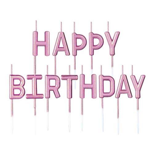 BaiJ Candele di Compleanno,Happy Birthday Lettere Candeline Torta Cupcake Toppers per Matrimonio Festa di Compleanno Anniversario Decorazioni per Torte Forniture Oro-Rosa