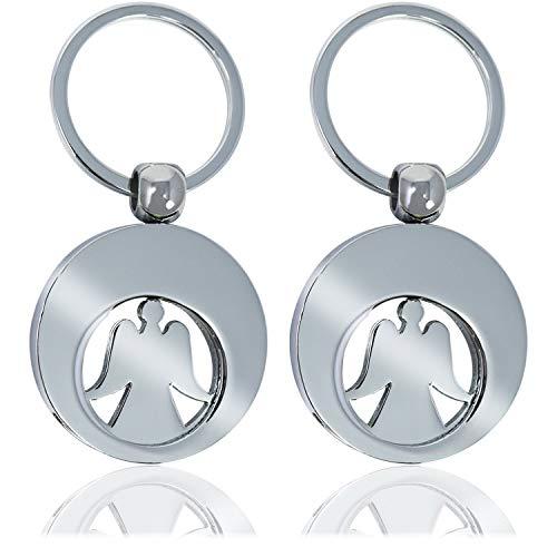 com-four® 2X Schlüsselanhänger Schutzengel mit Einkaufswagenchip, Engel mit herausnehmbarem Einkaufs-Chip für den Einkaufswagen
