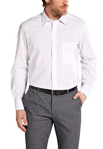 ETERNA Langarm Hemd COMFORT FIT Popeline unifarben, Weiß, W46 Langarm