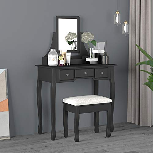 Titoni Vanity Table Makeup Table with Cushioned Stool & Mirror Wood Dressing Table with 5 Drawers...