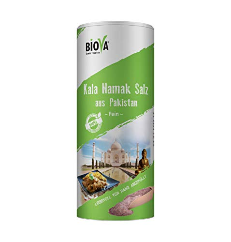 Biova Kala-Namak-Salz (Schwarzsalz) Feinstreu, 800g, Streudose - unjodiert, ohne Rieselhilfe, unraffiniert, frei von Zusätzen