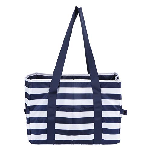 Eatbuy Picnic Bag - Picnic Basket Blue Stripe Polyester Portable Large Insulated Bag for Barbecue Camping Fishing