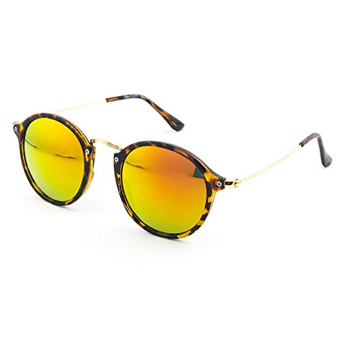 KISS Gafas de sol estilo MOSCOT mod. FLAT - redondo VINTAGE Johnny Depp hombre mujer CULT unisex - LA HABANA/Rojo