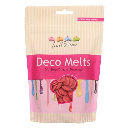 FunCakes Deco Melts Cobertura para Repostería Sabor Choco Blanco color Rojo, para Cubrir, hacer Dripping o Dibujar en Dulces, 250g, FC43030
