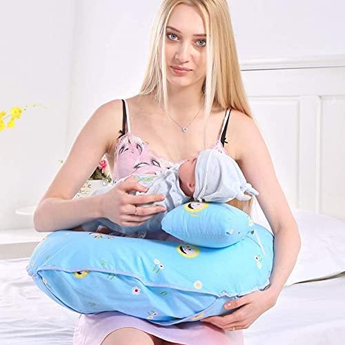 LCJD Almohada de Embarazo y Almohada de Maternidad/Almohada de Lactancia y Lactancia con Funda 100% algodón Lavable y reemplazable 48x60x15cm, H