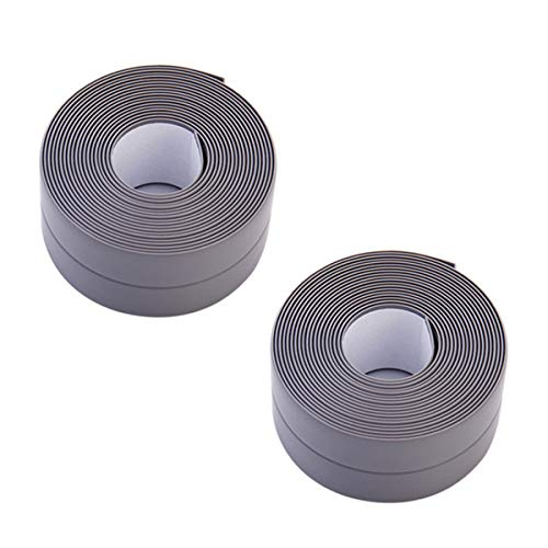 Donnagelia - Striscia per calafataggio in PVC, autoadesiva, sigillante, preformata, impermeabile, a prova di muffa, per cucina, bagno, vasca da bagno, toilette, 320 x 3,8 cm, grigio