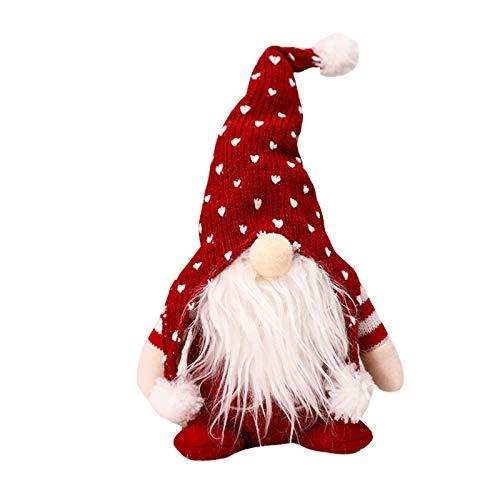 VEFSU Christmas Decorations Santa Cloth Doll Cute Plush Pendant Tree Hanging Ornaments Xmas Tree Pendant Crafts Elves Green Grey Brown Pink Red(E)