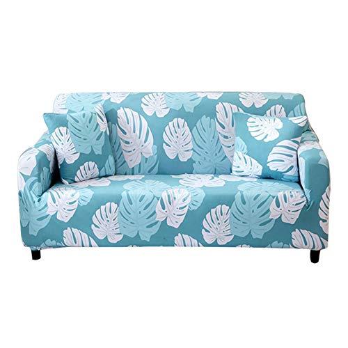 R&P Funda de Sofá Universal Estampada 1/2/3/4 Plazas Antideslizante Funda Cubre Sofas Elástica Funda para Sofá Chaise Longue Forma de L con Funda de Almohada,Leaves,3 Seat