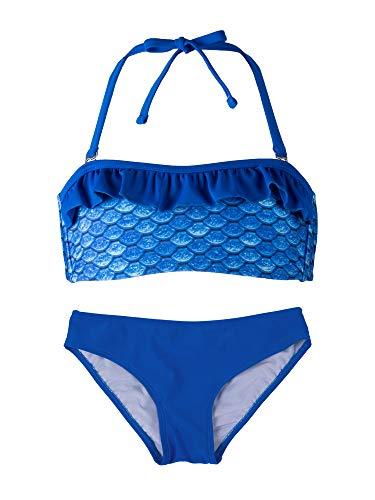 Fin Fun Bandeau Bikini Einstellen, Arctic Blue Oben, Royal Blue Unterseite, Mädchen Klein