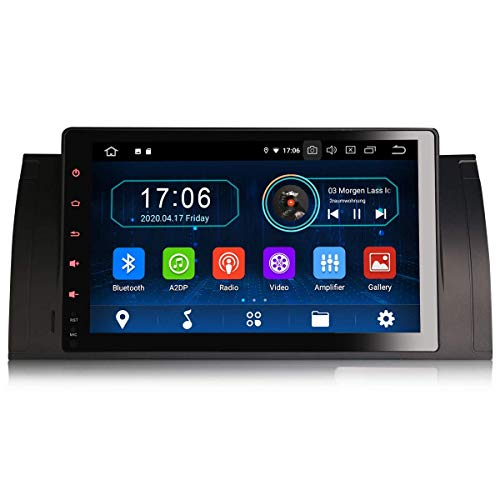 LYHY Car Navigator Android 10.0 9'Car Stereo Sat Nav para BMW 5 Series E39 X5 E53 M5 Soporte GPS Carplay Android Auto Bluetooth WiFi SWC FM/Am Dab + PX30 2GB RAM + 16GB ROM