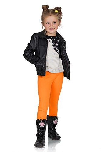 FUTURO FASHION® - Mädchen Leggings aus Baumwolle - warm & dick - lang - einfarbig - 2-13 Jahre - Orange - 7 Jahre