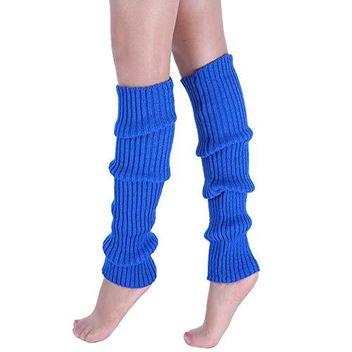 VJGOAL Moda casual para mujer Punto trenzado Mantener caliente Calentadores de la pierna Calcetines Cubierta de la bota Calcetines de la pierna(Un tamao,Azul)