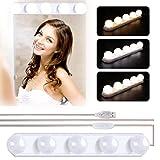 Winzwon Luces de Espejo Maquillaje, 5 LED Lámpara de Espejo Cosmético de Tocador, Kit Luz Baño 3 Modos de Color y 10 Brillo, para Maquillarse, Baño, Carga USB(Sin Espejo)