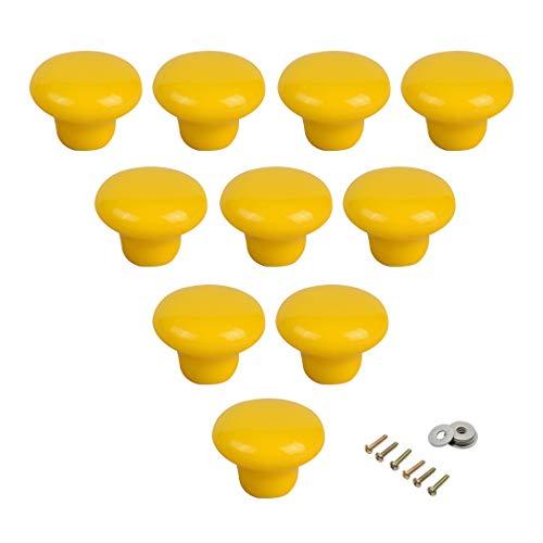 Keramische ronde kast, handgrepen, draagriem, rond deurknopjes voor kinderen, kamerdeur, kast, cupboard, wardrobe pulls, 10 stuks met schroeven geel