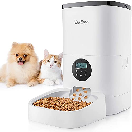 Balimo 4L Automatischer Futterautomat für Katze und Hund, Automatischer Futterspender mit Programmierbar Timer,LCD Bildschirm und Ton-Aufnahme