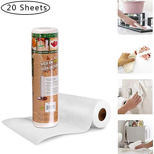Lâ Vestmon Bambus Küchenrolle, Küchentücher Waschbar Bambustücher, Saugstarke Und Reißfeste Haushaltstücher Papiertücher, Mehrweg-Bambus-Papiertücher