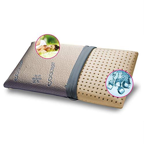 GEEMMA s.r.l. Cuscino refrigerante 100% Lattice 40x70 cm H12 cm. Guanciale Fresco a Modello saponetta con Tessuto Cooler rinfrescante Sfoderabile e Lavabile. Cuscino Materasso Anallergico – Milk