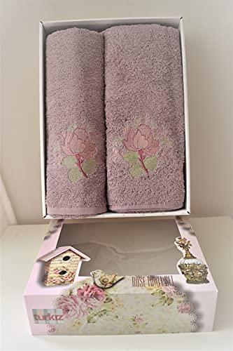 Turkiz Juego de 2 toallas de baño, 100% algodón, 1 toalla de 50 x 90 cm y 1 toalla de 70 x 140 cm, toalla de ducha con corazones y flores.
