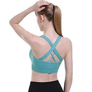 Double Couple Sports Bras for Women Criss-Cross Back Padded Strappy Yoga Bra with Removable Cup
