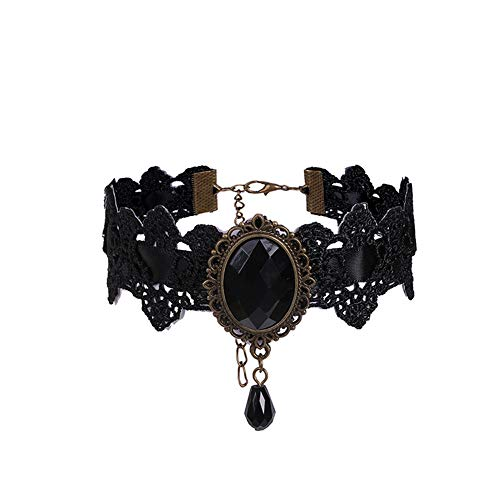YAZILIND Gothic Lolita Lace Necklace Collar Choker Halloween Costume Vampire Party(Black)
