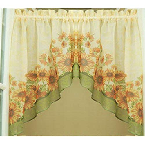 Country Curtain Valance Swag Set of 2 Panels for Kitchen Bathroom American Rural Print Sunflower Cafe Curtains Tulle Door Curtain Rod Pocket Window Treatment Swags W28 x L32 Inch Each