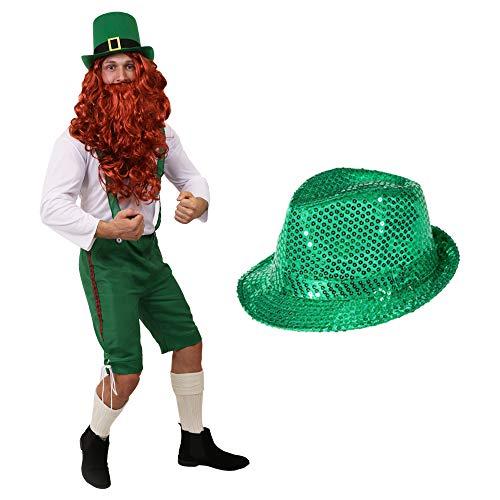 ILOVEFANCYDRESS Zwerge Leprechaun Irland ST PARICKS Day KOSTÜM VERKLEIDUNG=GRÜNE 3/4 Latzhose+WEISSES Oberteil+ROTE PERÜCKE+BART+GRÜNER Pailetten...