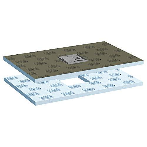 LUX ELEMENTS abgedichteter Duschboden mit eingebauter Bodenablaufpumpe, TUB-PUMP-S MR 1400/900 LTUBE19208, Grau, 140 x 90 cm
