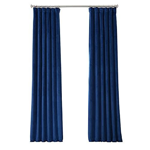 HPD Half Price Drapes VPYC Heritage Plush Velvet Curtain (1 Panel), 50 X 96, Pisces Blue