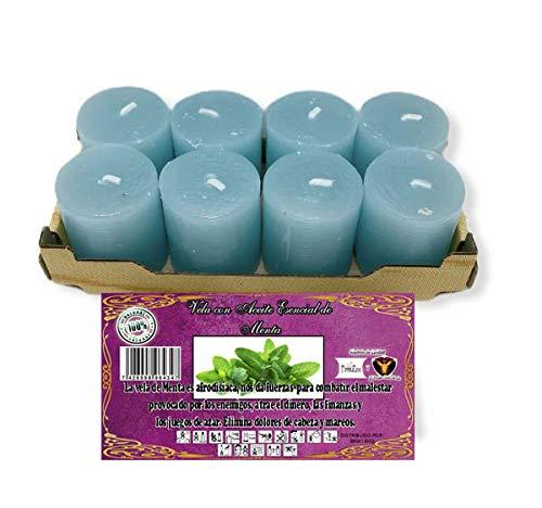 Pack 8 velas perfumadas aroma Menta + incienso en grano + pastilla...