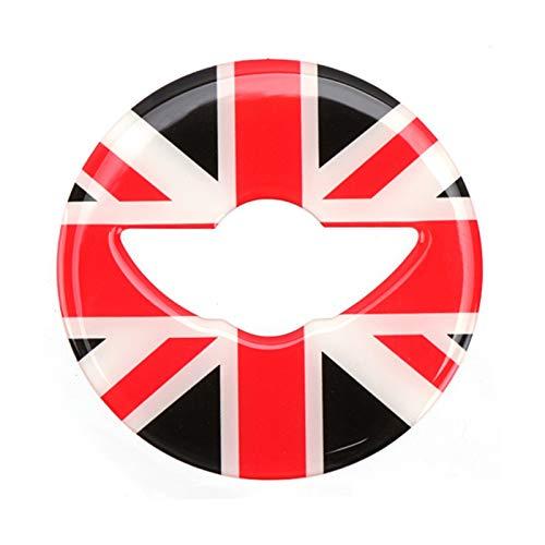 Belleza del Coche Pegatinas Epoxi para Decoración Volante Coche para Mini para Cooper S F54 F55 F56 F57 F60 Accesorios Coche Modificación Estilo Interior Adorno de Coche (Color : Black Red Flag)