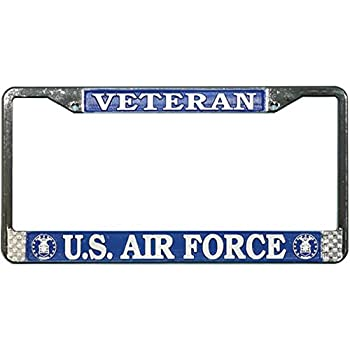 US Air Force Veteran License Plate Frame  Chrome Metal