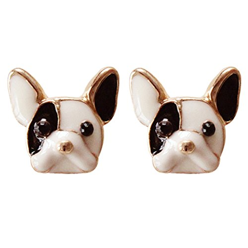 18K Gold Plated 3D Lovely Black White Colored Bulldog Women girls stud Earrings