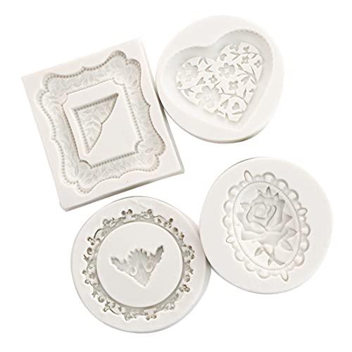 4 unids/set marco de silicona rosa fondant hornear pasta molde DIY pastel decoración arcilla polimérica resina caramelo pastel super Sculpey