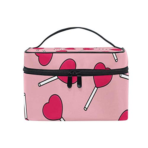 Candy Love Pattern Pink Cosmetic Bag Toiletry Travel Makeup Case Handle Pouch Multi-Function Organizer for Women