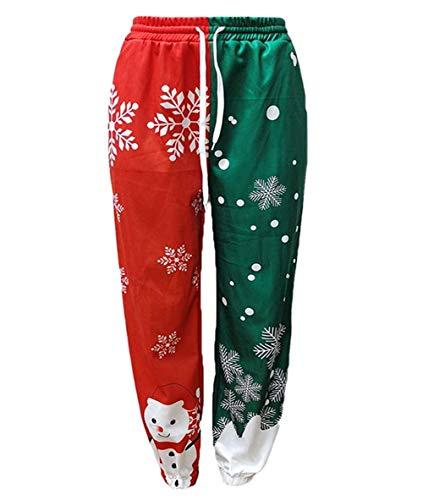Women Christmas Jogger Pants High Waist Sweatpants Workout Pants Snowman Snowflake Print Trousers Baggy Track Pants Casual Xmas Pants (A-Red Green, XX-Large)