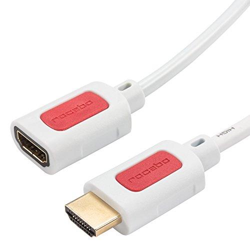 rocabo HDMI-verlengkabel High Speed met Ethernet, 4k Ultra HD compatibel met TV, DVD en beamer 1,50m wit