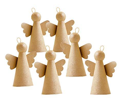 6 Engel aus Pappmaché Papp-Figur Karton 3D-Figur