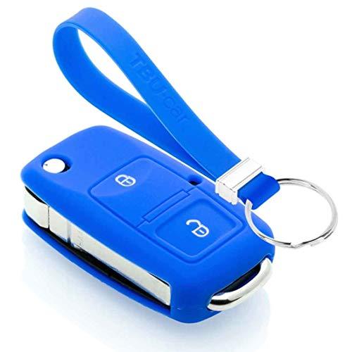 TBU car Funda Carcasa Llave Compatible con Seat - Funda de Silicona - Cover de Llave Coche - Azul