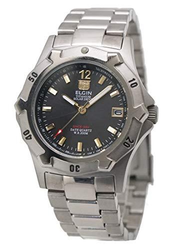 【国内正規品】ELGIN エルジン ソーラー ダイバー腕時計 チタン(チタニウム)製 20気圧防水 太陽電池 メンズ 男性用 FK1423TI-B