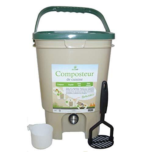 Ecovi Kit Composteur de Cuisine + Activateur, 20 liters L, Couvercle Vert, 28 x 28 x 39 cm