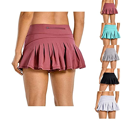 HOUHU Ladies Safety Boxer Shorts Underwear Yoga Shorts,High-Waisted Pleated Shorts Sports Culottes, 2-Layer 3-Point Sports Shorts with Back Waist Pocket Zipper Comfortable and Breathable S Cuero Rojo