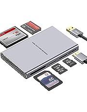 Super Speed USB Kaartlezer, 5 in 1 Aluminium USB 3.0 Kaartlezer met Parallelle Leesfunctie USB Adapter voor SD, CF, Micro SD, SDHC, SDXC, Micro SDHC, Micro SDHC, MS Pro, enz