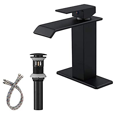 Bathadore Black Bathroom Faucet Waterfall Single Handle Single Hole Bathroom Sink Faucet with Pop Up Drain and Supply Hose Bath Lavatory Vanity Mixer Tap Deck Mount