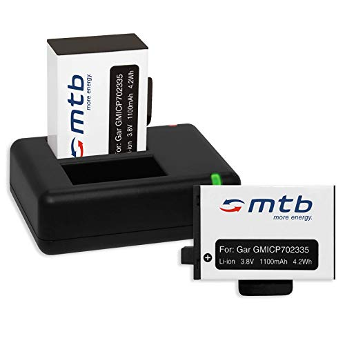 2x Batería + Cargador doble (USB) para Garmin Virb 360 Actioncam [1100 mAh | 3.8V | Li-Ion] - contiene cable micro USB