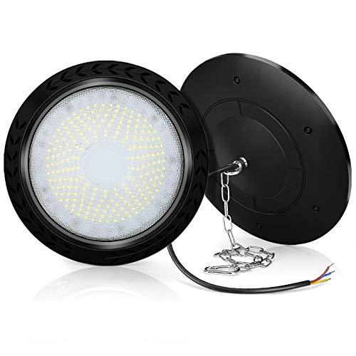 Lámpara industrial LED UFO de 100 W, 10000 lm, ultrafina, resistente al agua IP65, lámpara de taller, lámpara industrial, araña, taller, iluminación industrial, iluminación industrial, 2 unidades