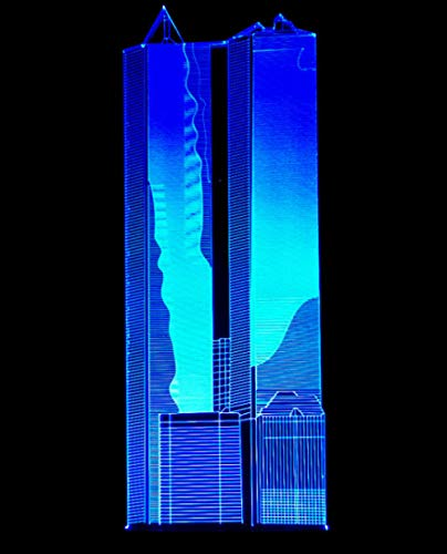 JYSZSD 3D LED luz noturna Edificio alto ilusão ótica candeeiro de mesa luz iluminação 16 cores de controlo remoto com acrílico plano e ABS base e carregador USB [Classe energética A]