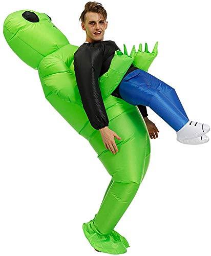 BOLANA Grün Alien Trage Menschen- Kostüm Aufblasbar Lustig Aufblasen Anzug Cosplay für Party, Kostüm Cosplay Outfit, Halloween Karneval Kostüme Erwachsene - Grün, Adult