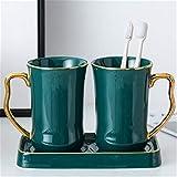 WanuigH Juego de Accesorios de Baño de Cerámica Estilo Europeo de baño Simple Conjunto de Siete Piezas Creativo de cerámica para el hogar Conjunto de Aseo Fácil de Limpiar