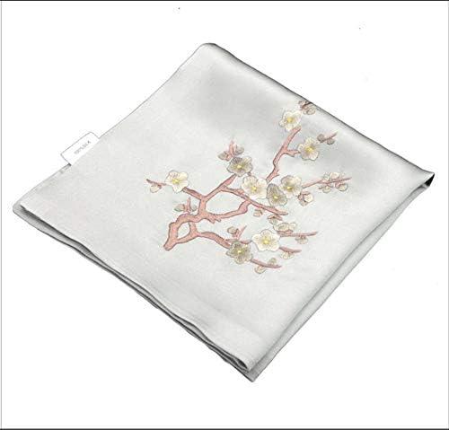 Z.L.FFLZ Embroidery Handkerchief Handkerchief Ladies Floral Pocket Handkerchief Plum Silk Lotus Handmade Embroidery Suzhou Embroidery Gifts (Color : Gray, Size : M)